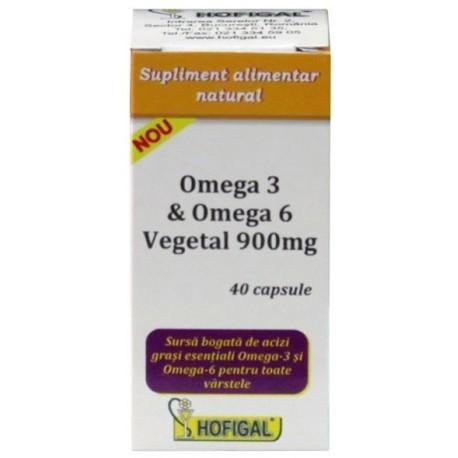 Omega 3 si Omega 6 Vegetal 900 mg 40 cps